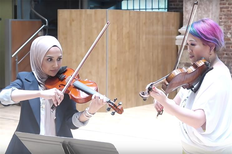 Maxine Kwok-Adams (right) taught Amena Khan to play the Harry Potter theme for her children