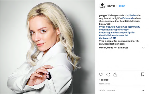 Lily Allen's Instagram posts promoting Vype, including this, is under investigation by the ASA.