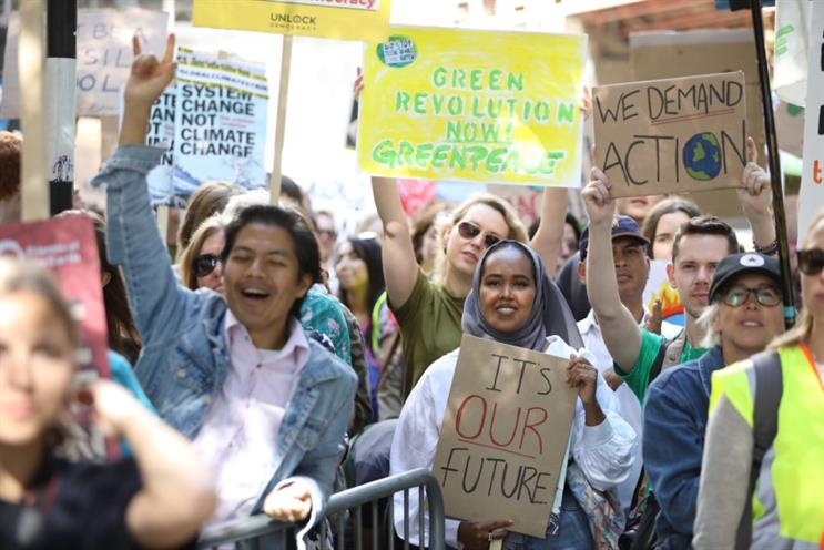 Activists in London joined strikers around the globe