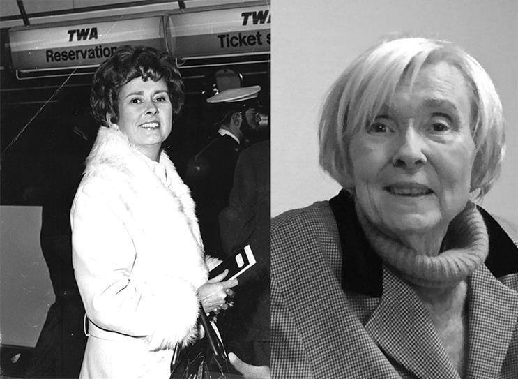 Nesta Hollis: jetting off to a PR conference in New York in 1976 (left), and this year (right)