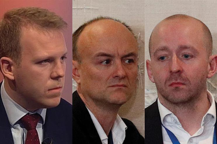 L-R: Robert Oxley, Dominic Cummings and Lee Cain are all believed to be staying on at Number 10 (pic credit: Stefan Rousseau/PA Wire/PA Images; Adrian Dennis - WPA Pool/Getty Images) )