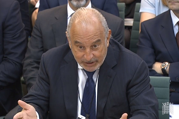 Under fire: Sir Philip Green at his Select Committee hearing last month (credit: PAWire)