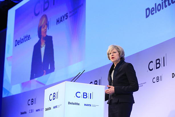 May addresses business leaders yesterday (Credit: Jonathan Brady/PA Wire)