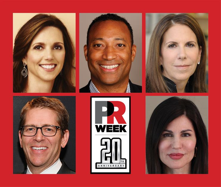 Top row, left to right: Beth Comstock, Kim Hunter, and Joele Frank. Bottom row, left to right: Jay Carney and Donna Imperato.