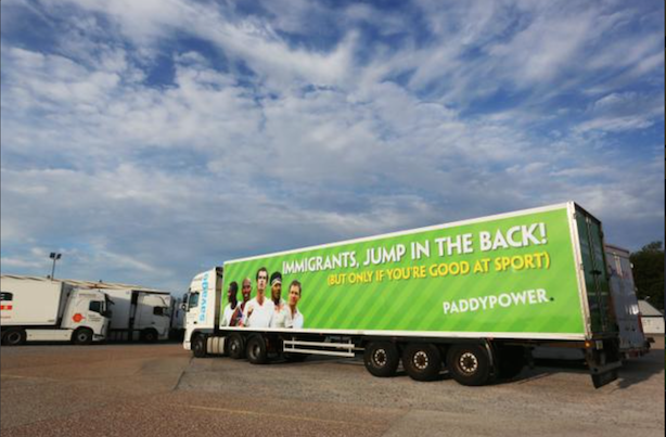 Paddy Power has 'no regrets' over immigrant lorry advert