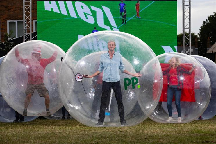 Watch: Football fans celebrate in COVID-compliant 'hamster balls' for Paddy Power
