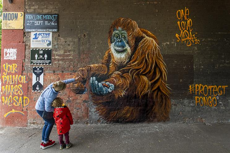 Protect Pongo murals are popping up in UK cities to highlight the plight of endangered orangutans