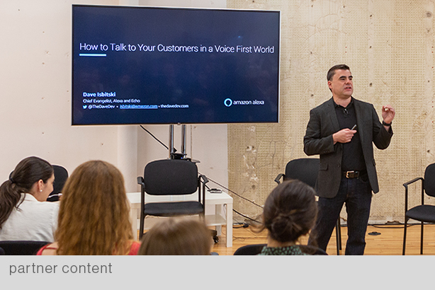 Voice technology can be the ultimate customer engagement tool, said Amazon's Dave Isbitski during his keynote at the Ruder Finn-hosted event. (All photos courtesy of Luiz Schiel)