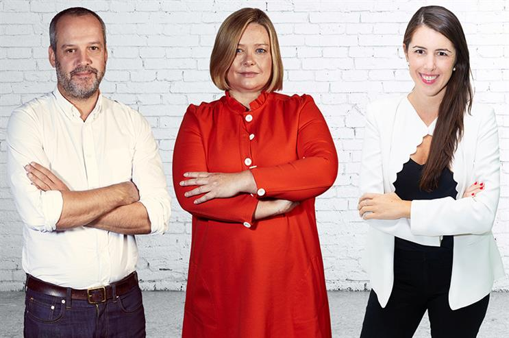 Red Havas leaders: Mark Campbell, Rachael Sansom and Natasha Carroll.