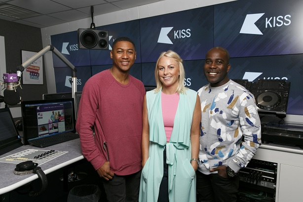 Kiss FM's Rickie Haywood Williams (L) and Melvin Odoom (R) with Charlie Hedges