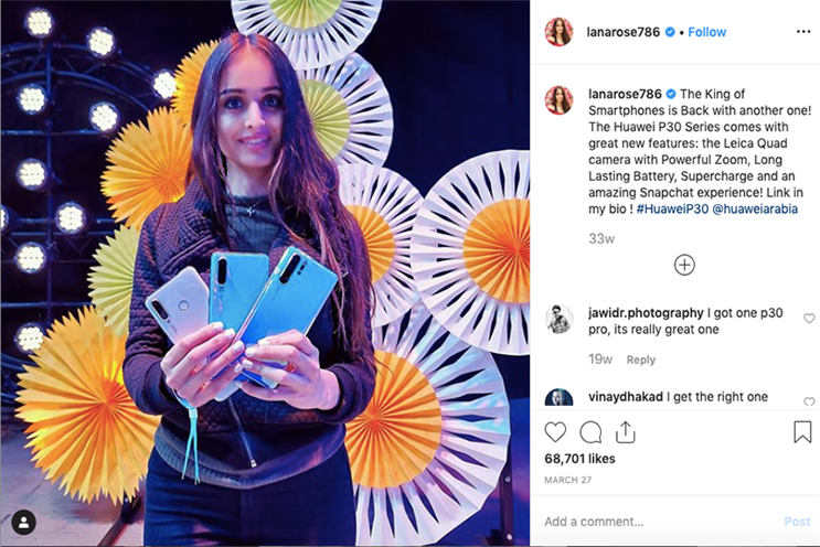 Lana Rose has 1.9 million followers on Instagram. A new study finds consumers are wary by paid for posts