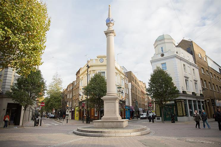 The Seven Dials junction in Covent Garden, London