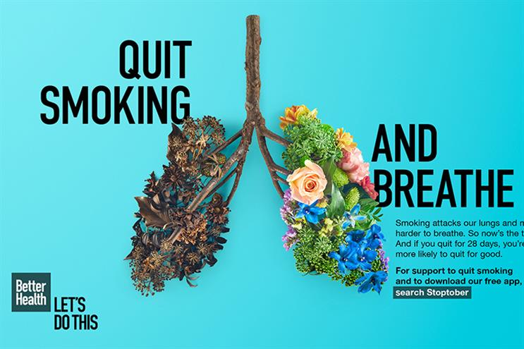 One of the campaign images used in the 2020 Stoptober campaign