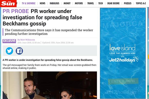PR agency suspends employee after 'spreading false Beckham rumours'