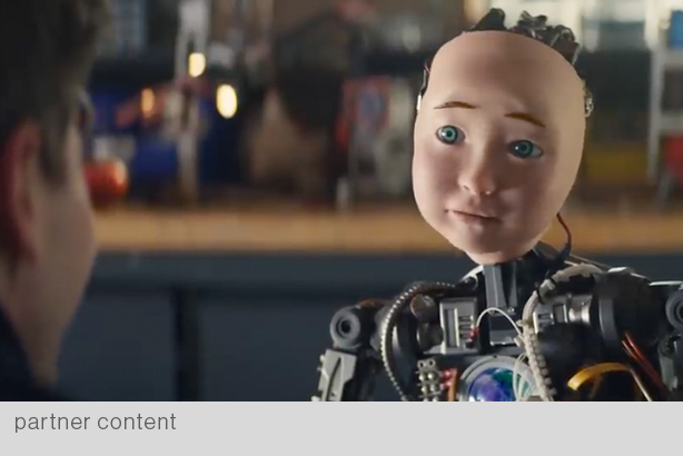 """Anxieties about AI spurred many Super Bowl ads this year, including TurboTax's """"RoboChild."""" (All roundtable photos courtesy of Christopher Farber)"""