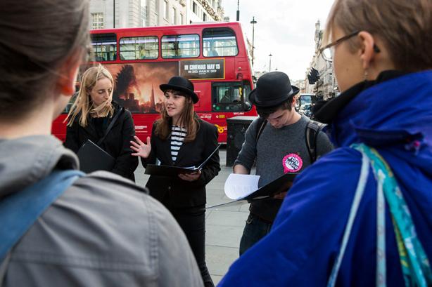 Natasha Adams (centre) on the 'tax campaign' tour