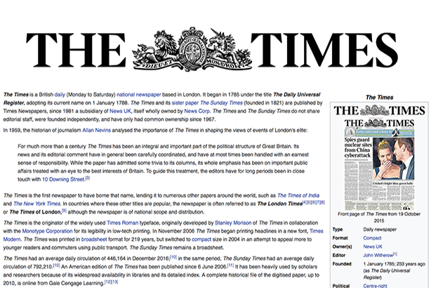 Should The Times' take a leaf out of Wikipedia when it comes to using hyperlinks?