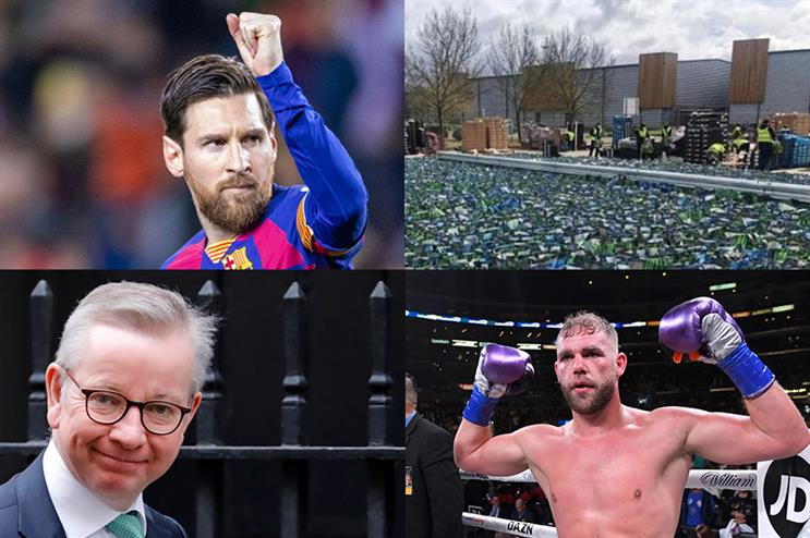 Clockwise from top left: Lionel Messi, Lidl, Billy Joe Saunders, Michael Gove (©Getty Images)