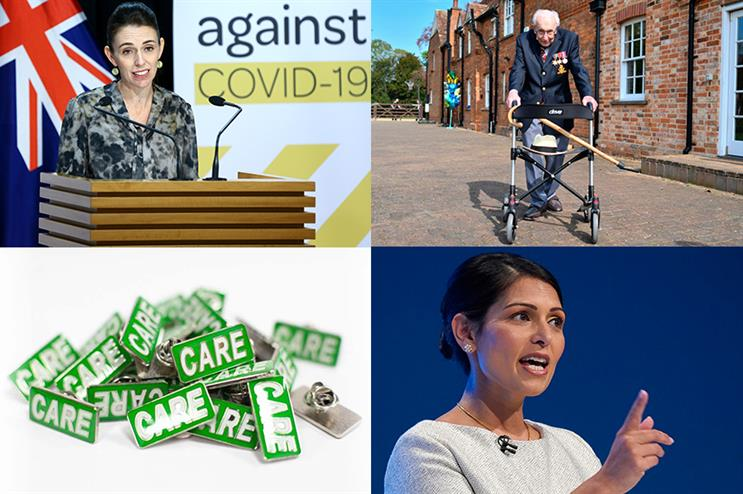 Clockwise from top left: Jacinda Ardern, Captain Tom Moore, Priti Patel (all ©GettyImages), care badges (via @theCAREbadge on Twitter)