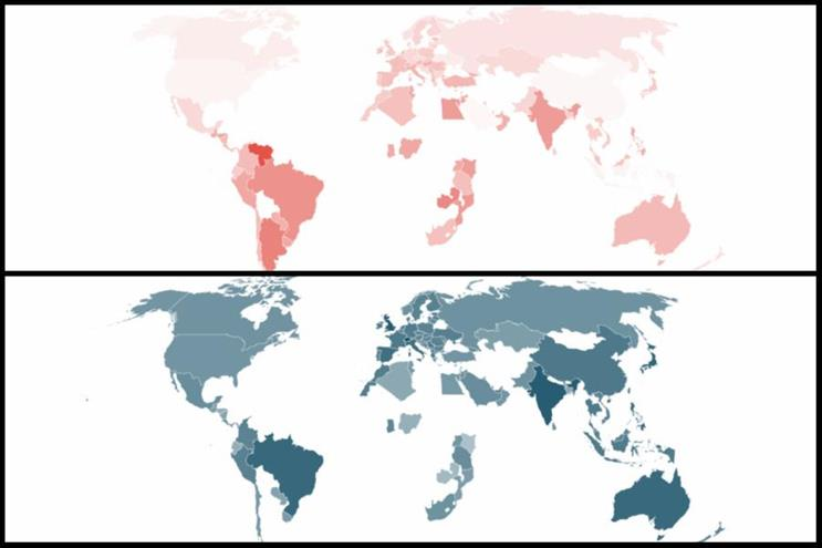 These Warc heatmaps show forecasted adspend declines in 2020 (top) and increases in 2021 (bottom), with darker colours indicating greater change
