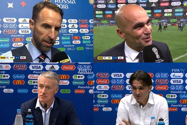 Relationship managers: (l-r) Southgate, Martinez, Deschamps, Dalic