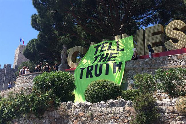 Extinction Rebellion staged a protest at Cannes Lions last month