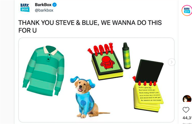 Dog owners' wish for a Blue's Clues-themed BarkBox may finally come true