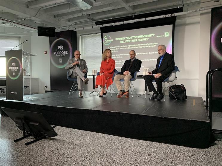 L-R: PRWeek's Steve Barrett, Madeline Chadwick, MillerCoors' Pete Marino, Boston University's Don Wright