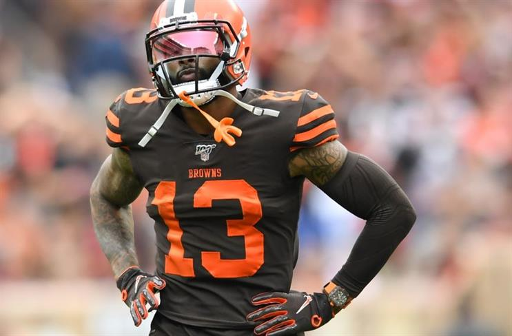 Odell Beckham Jr., and a very expensive timepiece, in the Cleveland Browns season opener against Tennessee. (Photo credit: Getty Images)