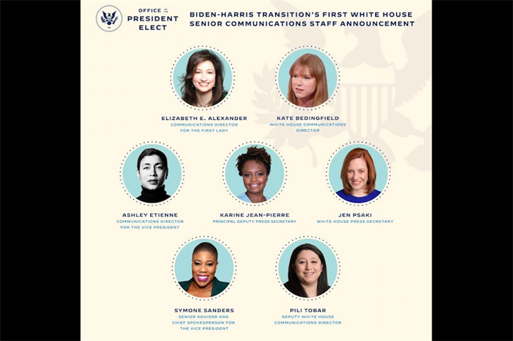 'This is what breaking the glass ceiling looks like': Women in PR celebrate Biden's all-female comms team
