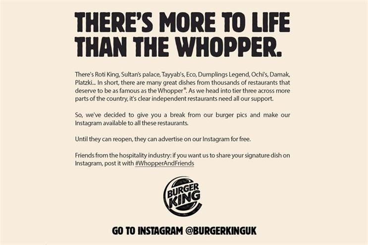 Burger King promotes independent competitors as COVID-19 restrictions tighten
