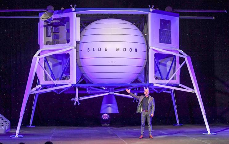 Jeff Bezos unveils Blue Origin's moon lander last May. (Photo credit: Getty Images)