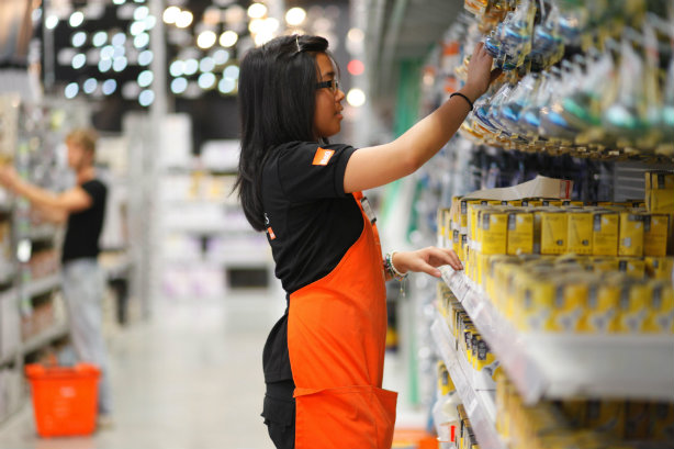 An employee at B&Q, Kingfisher's most recognisable operation in the UK