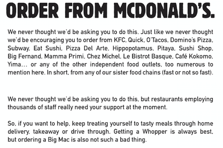 Burger King tells consumers to order from…McDonald's?