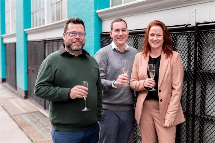 Toasting the deal (L-R): Paul Cockerton, Peter Bowles and Rachel Gilley