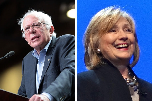 Image via Gage Skidmore (Bernie Sanders) and Steve Jurvetson (Hillary Clinton) / Wikimedia Commons; used under the Attribution-ShareAlike 2.0 Generic license; cropped, resized, and combined from original