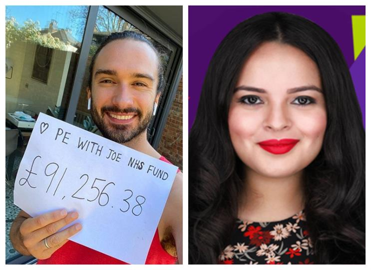 Influencers: Joe Wicks (L) and Alexandra Galviz (R) have been prominent on social media under the lockdown