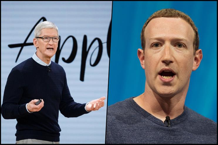 L-R: Apple CEO Tim Cook and Facebook counterpart Mark Zuckerberg.