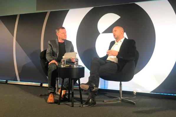 PRWeek UK editor-in-chief Danny Rogers (l) in conversation with PR legend Matthew Freud