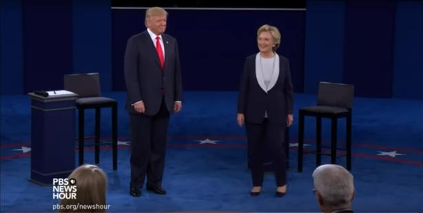 The second debate between Donald Trump and Hillary Clinton. (Screenshot via PBS NewsHour's YouTube page).