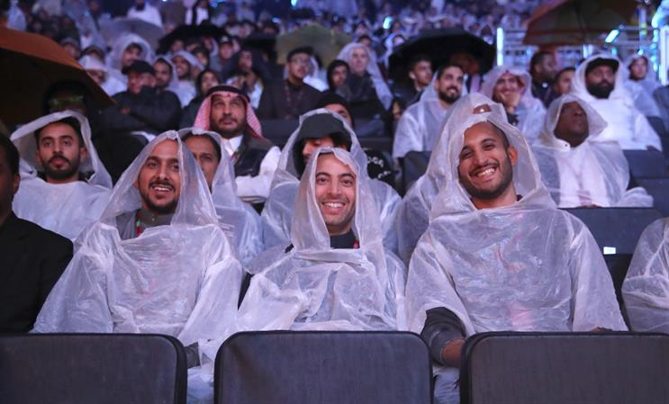 Nobody expected pouring rain at a boxing arena in the desert outside Riyadh. (RM pic: Getty/Nick Potts/PA Images.)