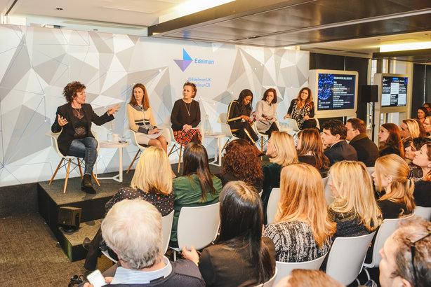 Panel (left to right) Ruby Wax, Anne Richards, Kirsty Wark, June Sarpong, Joanna Tatchell, Bindi Karia
