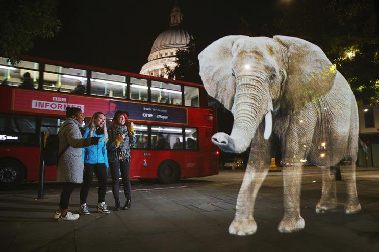 Elephant hologram appears in London for WWF campaign