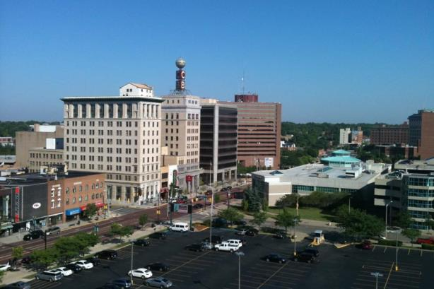 """""""Downtown Flint Michigan taken from Genesee Towers"""" by Flintmichigan - Own work. Licensed under CC BY-SA 4.0 via Commons"""