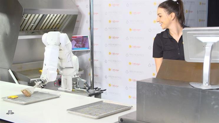 Miso Robotics' Flippy helps with the grilling. (Photo credit: Miso Robotics).