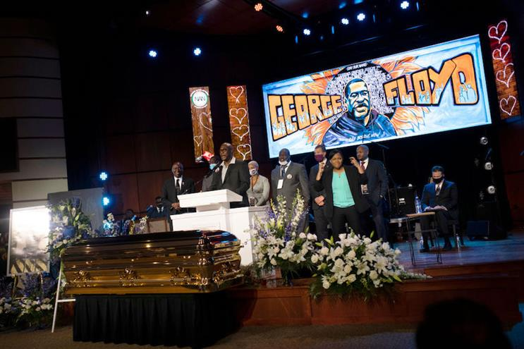 The memorial service for George Floyd took place in Minneapolis on Thursday. (Pic: Getty Images.)