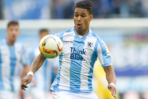 Rubin Okotie of 1860 Munich, which has sponsorship from VW's Think Blue brand (Pic: Tobias Hase / DPA/Press Association Images)