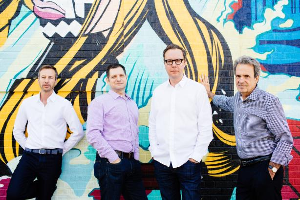 Incoming Golin CEO+s Jonathan Hughes, Gary Rudnick, and Matt Neale, and chair Fred Cook.