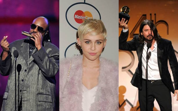 Stevie Wonder, Miley Cyrus, and Dave Grohl. Image via the Grammy Awards' Facebook page