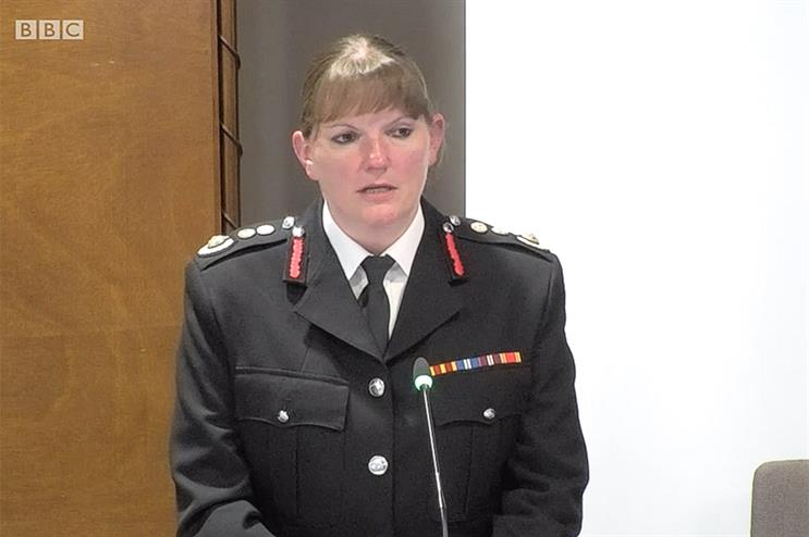 Dany Cotton, Commissioner, London Fire Brigade, giving evidence to the Grenfell Inquiry (Pic credit: BBC)